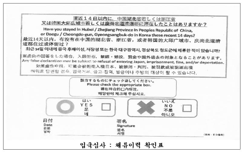 일본유학, 일본입국_입국심사 시 사용되는 체류이력 확인표.png